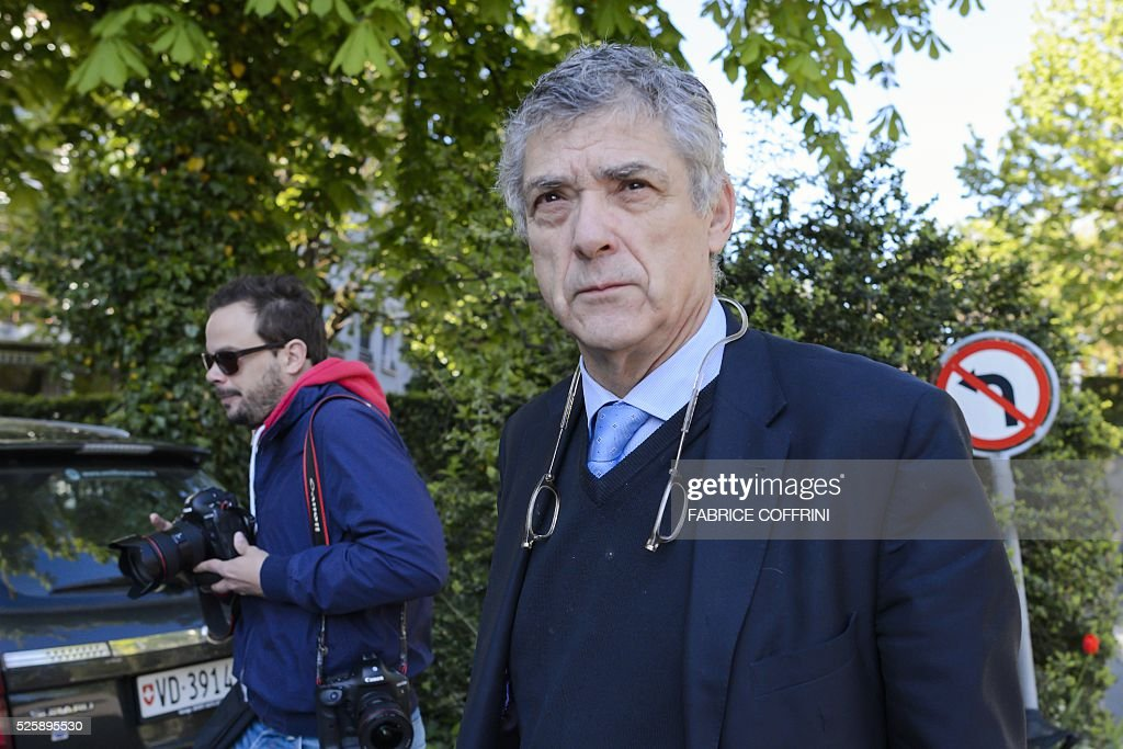 UEFA acting president Angel Maria Villar arrives to the Court of Arbitration for Sport for the appleal of Michel Platini's against his six-year FIFA ban for ethics violations on April 29, 2016 in Lausanne. Platini has been sanctioned over an infamous two million Swiss franc ($2 million, 1.8 million euro) payment he received in 2011 from then-FIFA president Sepp Blatter. / AFP / FABRICE