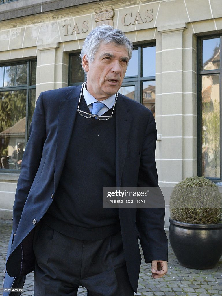 UEFA acting president Angel Maria Villar leaves the Court of Arbitration for Sport during a appleal of Michel Platini's against his six-year FIFA ban for ethics violations on April 29, 2016 in Lausanne. Platini has been sanctioned over an infamous two million Swiss franc ($2 million, 1.8 million euro) payment he received in 2011 from then-FIFA president Sepp Blatter. / AFP / FABRICE