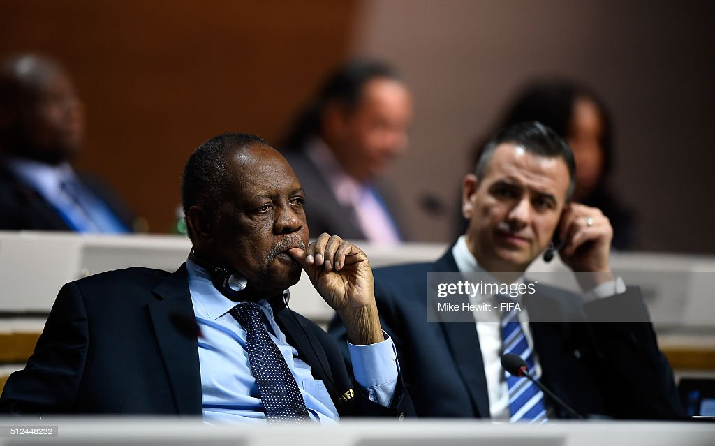 Acting President Issa Hayatou and FIFA Acting Secretary General Markus Kattner look on as the election goes to a second vote during the Extraordinary FIFA Congress at Hallenstadion on February 26, 2016 in Zurich, Switzerland.