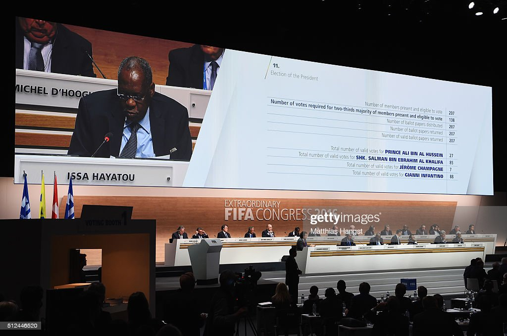 Acting President Issa Hayatou announces the result of the first vote during the Extraordinary FIFA Congress at Hallenstadion on February 26 2016 in...