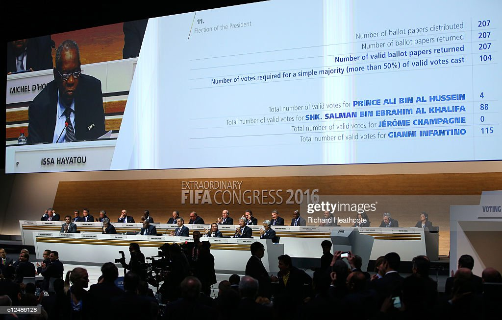 Acting President Issa Hayatou announces the results of the second vote as Gianni Infantino is elected as the new FIFA President during the Extraordinary FIFA Congress at Hallenstadion on February 26, 2016 in Zurich, Switzerland.