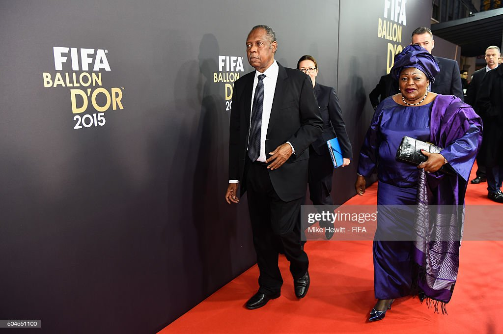 Acting President Issa Hayatou arrives for the FIFA Ballon d'Or Gala 2015 at the Kongresshaus on January 11 2016 in Zurich Switzerland