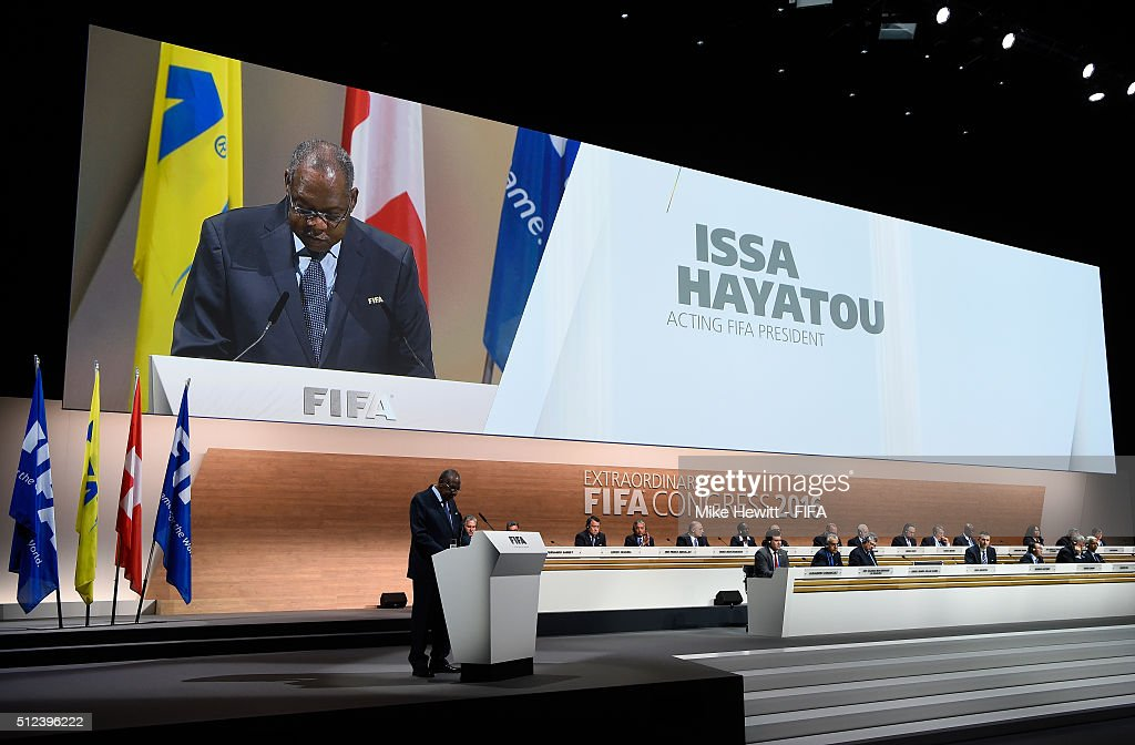 Acting President Issa Hayatou talks during the Extraordinary FIFA Congress at Hallenstadion on February 26 2016 in Zurich Switzerland