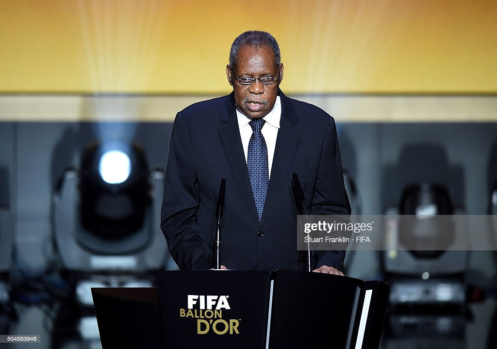 Acting President <a gi-track='captionPersonalityLinkClicked' href=/galleries/search?phrase=Issa+Hayatou&family=editorial&specificpeople=541876 ng-click='$event.stopPropagation()'>Issa Hayatou</a> talks during the FIFA Ballon d'Or Gala 2015 at the Kongresshaus on January 11, 2016 in Zurich, Switzerland.