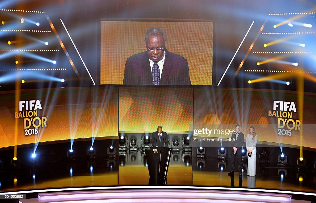 Acting President Issa Hayatou talks during the FIFA Ballon d'Or Gala 2015 at the Kongresshaus on January 11 2016 in Zurich Switzerland