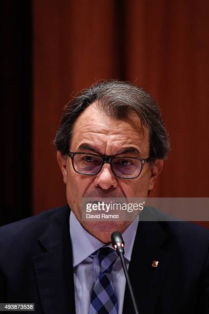 Acting President of Catalonia Artur Mas answers questions from members of the Parliament on October 23 2015 in Barcelona Spain Artur Mas appeared in...