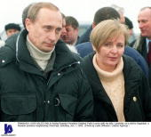 Acting Russian President Vladimir Putin is seen with his wife Lyudmila on a visit to Dagestan a Russian province neighboring Chechnya Saturday Jan 1...