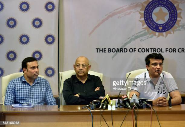 Acting Secretary Amitabh Choudhary with Cricket Advisory Committee members Sourav Ganguly and VVS Laxman during a press conference for Indian cricket...