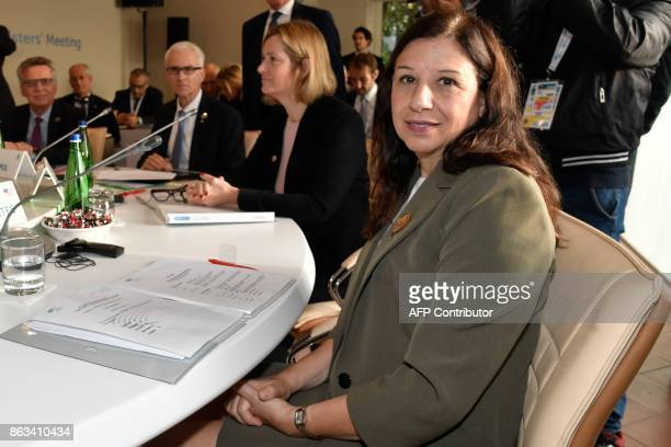 US Acting Secretary of the Department of Homeland security Elaine Duke and Britain's Home Secretary Amber Rudd attend before a working session at the...
