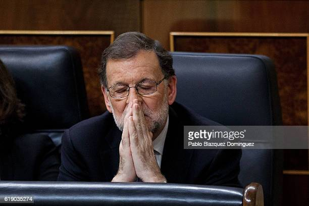 Acting Spanish Prime Minister Mariano Rajoy is seen during the final day of the investiture debate at the Spanish Parliament on October 29 2016 in...