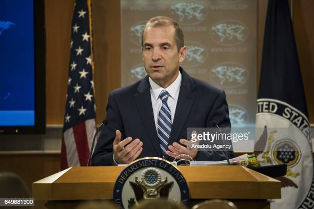 Acting Spokesperson for the US State Department Mark Toner answers questions during the State Departments daily press briefing in Washington United...