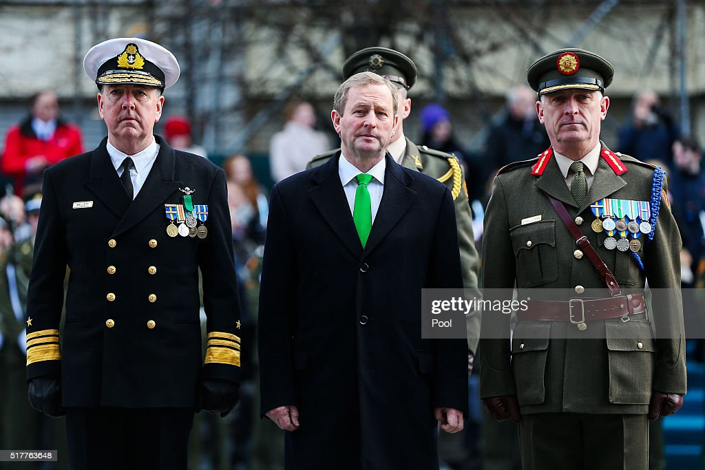 Acting Taoiseach <a gi-track='captionPersonalityLinkClicked' href=/galleries/search?phrase=Enda+Kenny&family=editorial&specificpeople=5129605 ng-click='$event.stopPropagation()'>Enda Kenny</a> at the Easter Sunday Commemoration Ceremony and Parade from OConnell Street on March 27, 2016 in Dublin, Ireland. Today marks the 100th anniversary of the Easter Rising in the Republic of Ireland when in 1916 a rebellion was attempted to oust British rule of the country.