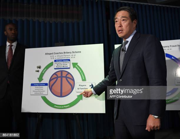 Acting United States Attorney for the Southern District of New York Joon H Kim speaks during a press conference to announce charges of fraud and...