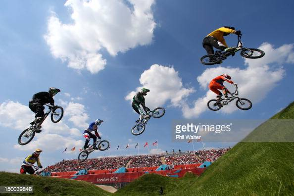 Action as the field make their way across a jump in the Men's BMX Cycling Quarter Finals on Day 13 of the London 2012 Olympic Games at BMX Track on...