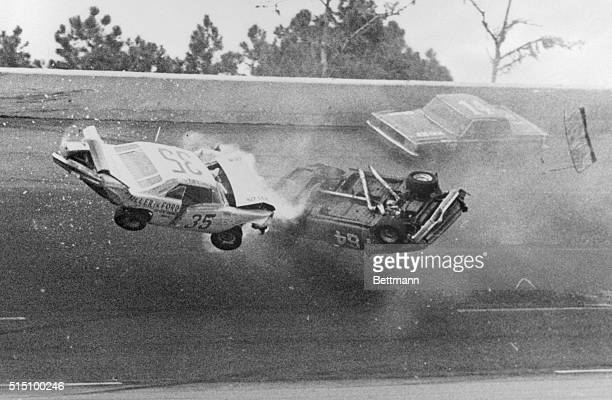 Action at the speedway as Gerry Wolland Peoria Illinois car no 34 and Bobby Mausgrover Keokuk IA car no 64 crash near the finish of the 300 mile ARCA...