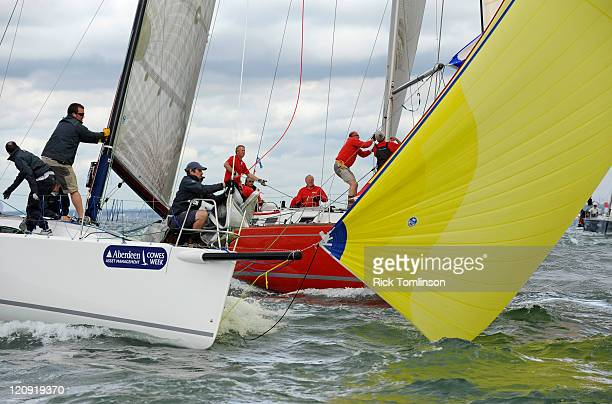 Action between Jenga 7 and Popov on day seven of Aberdeen Asset Management Cowes Week on August 12 2011 in Cowes England