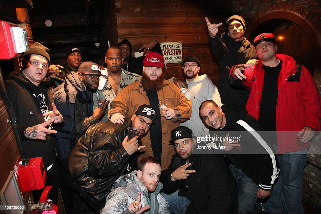 <a gi-track='captionPersonalityLinkClicked' href=/galleries/search?phrase=Action+Bronson&family=editorial&specificpeople=8562662 ng-click='$event.stopPropagation()'>Action Bronson</a> (C) and guests attend the Brooklyn Bowl on December 26, 2012 in New York City.