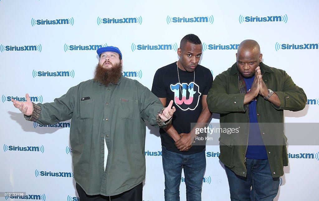 Action Bronson, DJ Whoo Kid and Meyhem Lauren visit at SiriusXM Studio on February 29, 2016 in New York City.