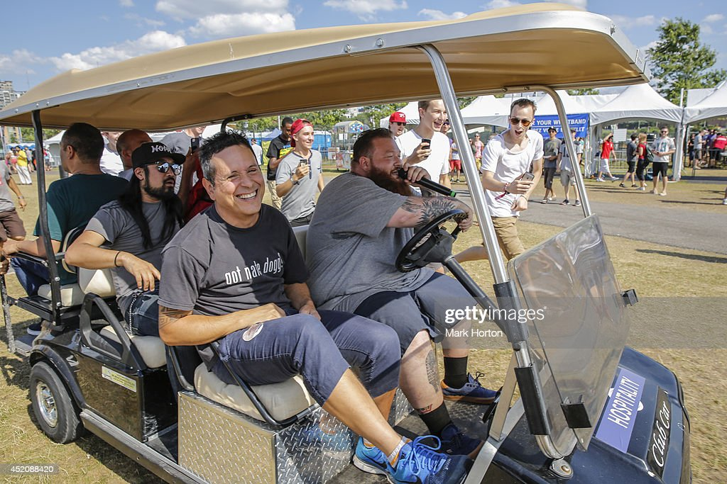 Action Bronson tours the festival grounds with members of Deltron 3030 while he performs on Day 9 of the RBC Royal Bank Bluesfest on July 12, 2014 in Ottawa, Canada.