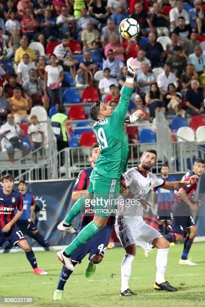 Action by Gianluigi Donnarumma Milan goalkeeper during the Serie A match between FC Crotone v AC Milan Milan won 30