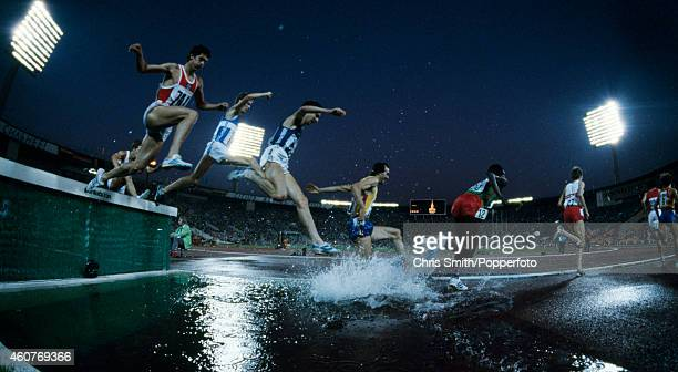 Action during the men's 3000 metres steeplechase event at the Summer Olympic Games in Moscow circa July 1980