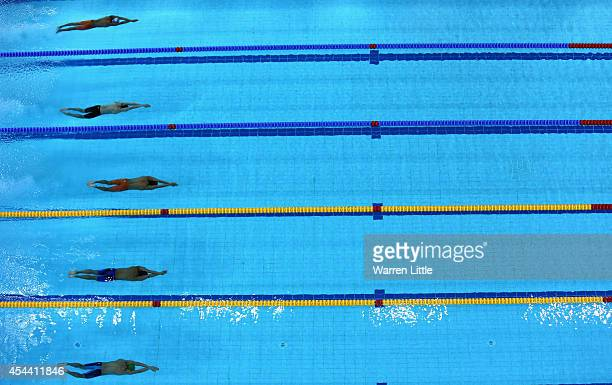 Action during the Men's 50m Butterfly heats during the FINA Swimming World Cup at Hamdan Sports Complex on August 31 2014 in Dubai United Arab...