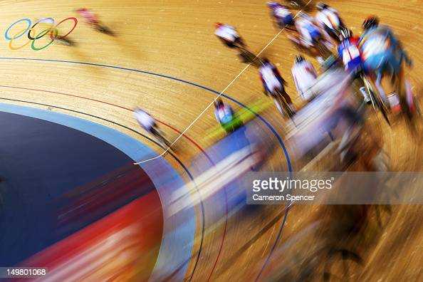Action during the Men's Omnium Track Cycling 30km Points Race on Day 8 of the London 2012 Olympic Games at Velodrome on August 4 2012 in London...