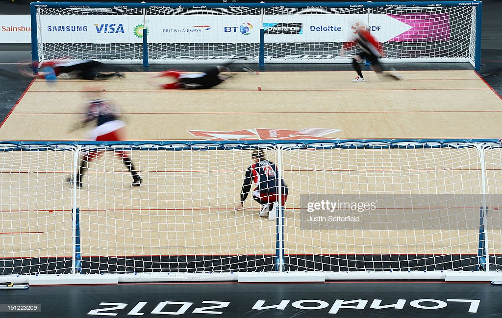 Action during the Women's Team Goalball preliminary round match between United States and Canada on Day 6 of the London 2012 Paralympic Games at the Copper Box in the Olympic Park on September 4, 2012 in London, England. Canada went on to win the match 1-0.