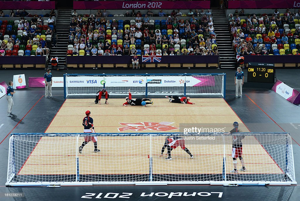 Action during the Women's Team Goalball preliminary round match between USA and Canada on Day 6 of the London 2012 Paralympic Games at the Copper Box in the Olympic Park on September 4, 2012 in London, England. Canada went on to win the match 1-0.