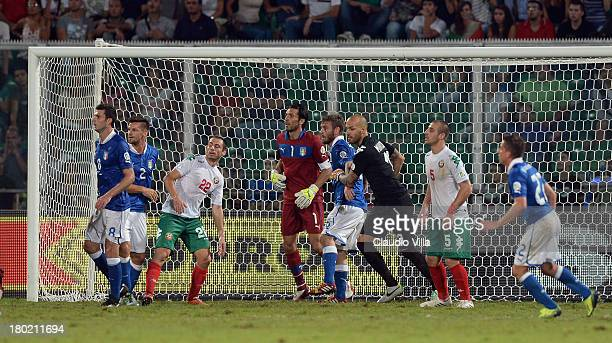 Action from a corner kick taken during the FIFA 2014 World Cup Qualifier group B match between Italy and Bulgaria at Stadio Renzo Barbera on...