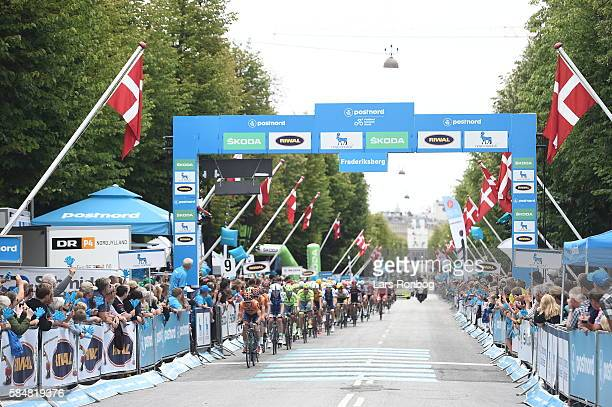 Action from stage five at the Postnord Danmark Rundt race between Karrebaksminde and Copenhagen on July 31 2016 in Frederiksberg Denmark