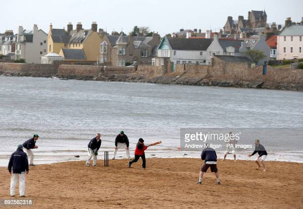 Action from the beach cricket match in Elie as the tide comes in between the Ship Inn cricket team in Elie Fife and Eccentric Flamingos CC The Ship...
