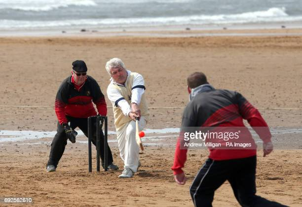 Action from the beach cricket match in Elie between the Ship Inn cricket team in Elie Fife and Eccentric Flamingos CC The Ship Inn are the only pub...