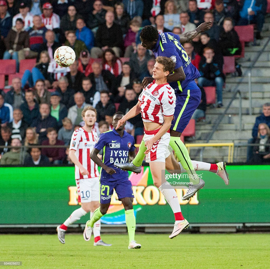 Action from the Danish Alka Superliga match between AaB Aalborg and FC Midtjylland at Nordjyske Arena on May 26, 2016 in Aalborg, Denmark.