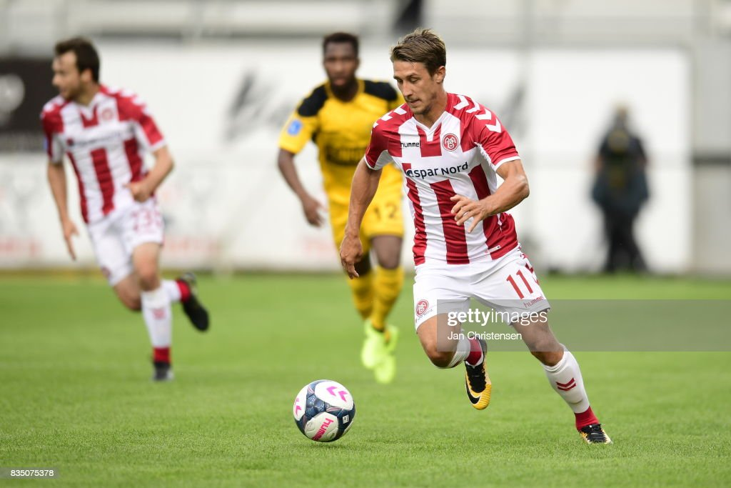 Action from the Danish Alka Superliga match between AC Horsens and AaB Aalborg at Casa Arena Horsens on August 18, 2017 in Horsens, Denmark.