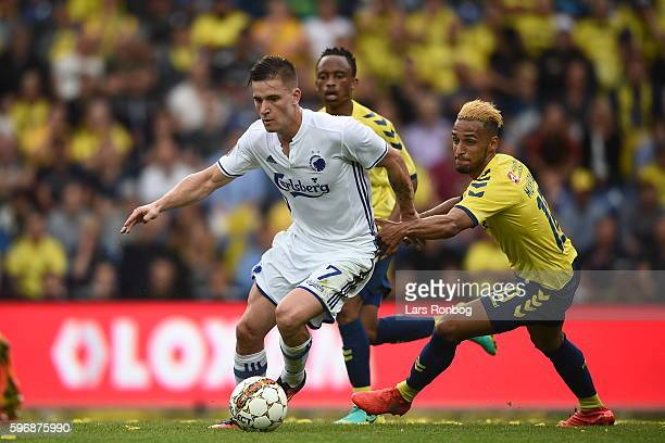 Action from the Danish Alka Superliga match between Brondby IF and FC Copenhagen at Brondby Stadion on August 28 2016 in Brondby Denmark