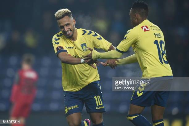 Action from the Danish Alka Superliga match between Brondby IF and FC Nordsjalland at Brondby Stadion on March 5 2017 in Brondby Denmark