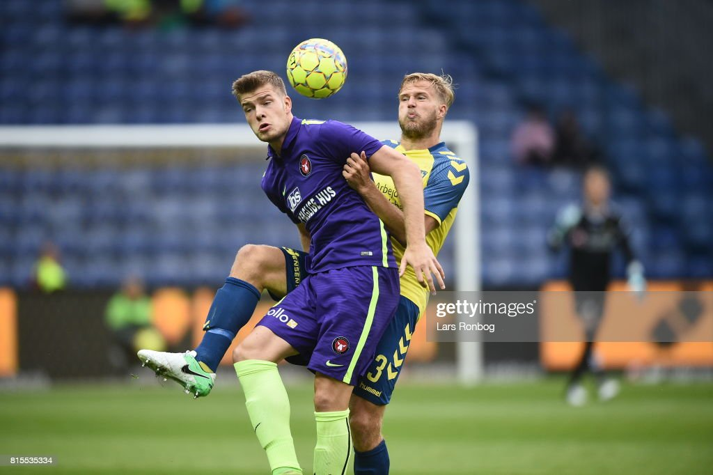 Action from the Danish Alka Superliga match between Brondby IF and FC Midtjylland at Brondby Stadion on July 16, 2017 in Brondby, Denmark.