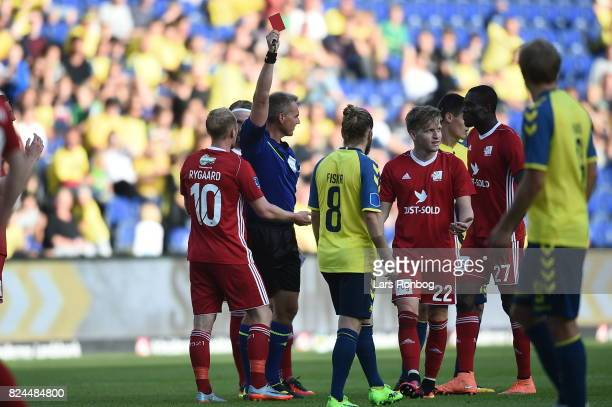 Action from the Danish Alka Superliga match between Brondby IF and Lyngby BK at Brondby Stadion on July 30 2017 in Brondby Denmark