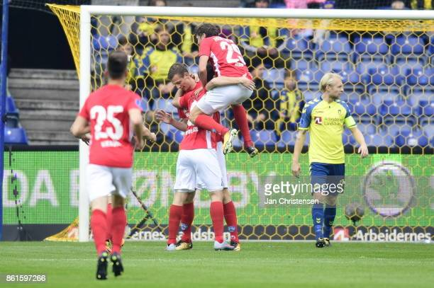 Action from the Danish Alka Superliga match between Brondby IF and Silkeborg IF at Brondby Stadion on October 15 2017 in Brondby Denmark
