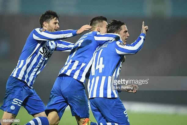Action from the Danish Alka Superliga match between Esbjerg fB and FC Nordsjalland at Blue Water Arena on October 30 2015 in Esbjerg Denmark