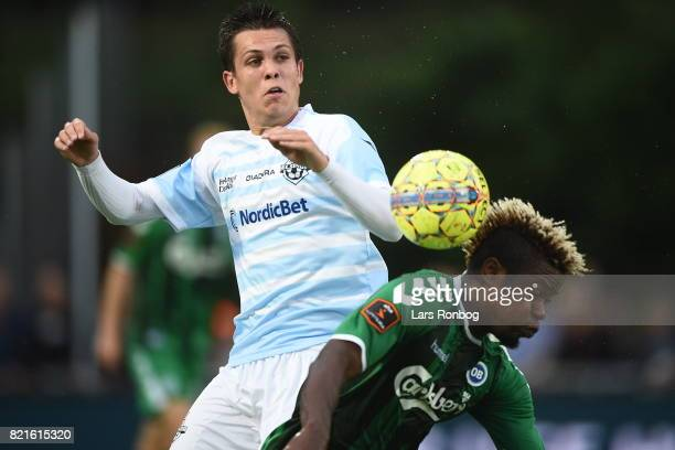 Action from the Danish Alka Superliga match between FC Helsingor and OB Odense at Helsingor Stadion on July 24 2017 in Helsingor Denmark
