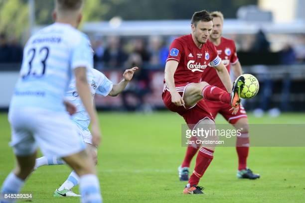Action from the Danish Alka Superliga match between FC Helsingor and FC Copenhagen at Helsingor Stadion on September 17 2017 in Helsingor Denmark