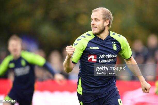 Action from the Danish Alka Superliga match between FC Helsingor and Brondby IF at Helsingor Stadion on October 22 2017 in Helsingor Denmark