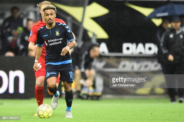 Action from the Danish Alka Superliga match between FC Nordsjalland and Brondby IF at Right to Dream Park on July 23 2017 in Farum Denmark