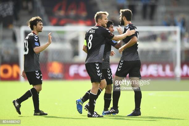 Action from the Danish Alka Superliga match between FC Nordsjalland and AaB Aalborg at Right to Dream Park on July 30 2017 in Farum Denmark