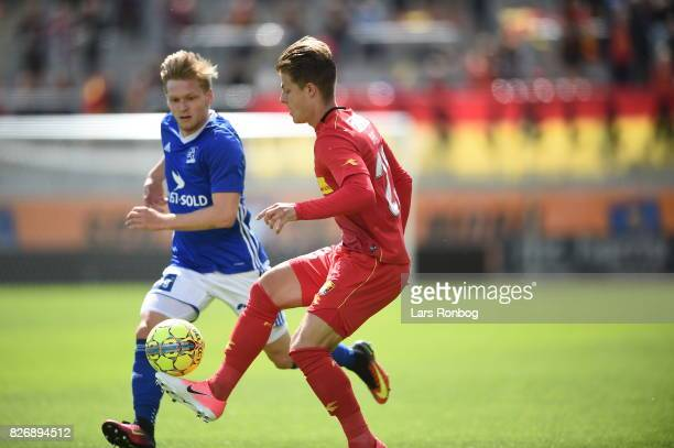 Action from the Danish Alka Superliga match between Lyngby BK and FC Nordsjalland at Lyngby Stadion on August 6 2017 in Lyngby Denmark