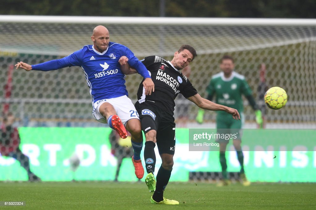 Action from the Danish Alka Superliga match between Lyngby BK and Silkeborg IF at Lyngby Stadion on July 16, 2017 in Lyngby, Denmark.