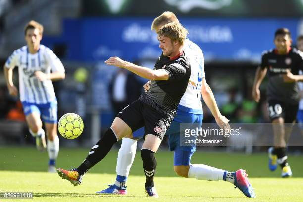 Action from the Danish Alka Superliga match between OB Odense and AaB Aalborg at TREFOR Park on August 06 2017 in Odense Denmark