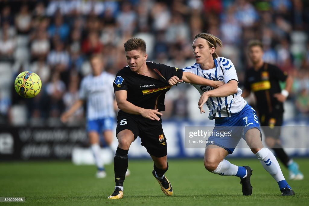 Action from the Danish Alka Superliga match between OB Odense and FC Nordsjalland at EWII Park on July 17, 2017 in Odense, Denmark.